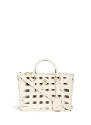 Main View - Click To Enlarge - Tory Burch - 'Robinson' micro perforated saffiano leather tote