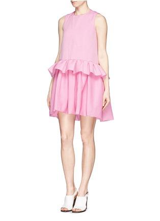 Front View - Click To Enlarge - VICTORIA, VICTORIA BECKHAM - Ruffle peplum drop waist dress