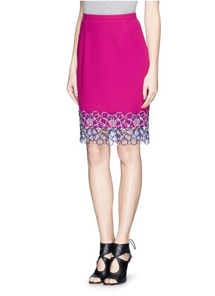 Front View - Click To Enlarge - Peter Pilotto - Circle lace hem pencil skirt