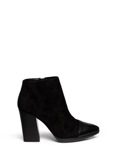 TORY BURCH 'Rivington' leather toe cap suede booties