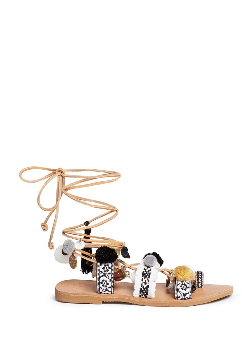 Freya fringed embroidered pompom lace-up leather sandals by MABU by Maria BK