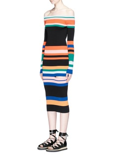 Ports 1961 Stripe off-shoulder slit rib knit dress