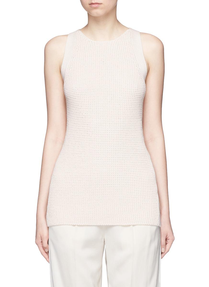 Waffle knit cotton sleeveless tunic by Vince