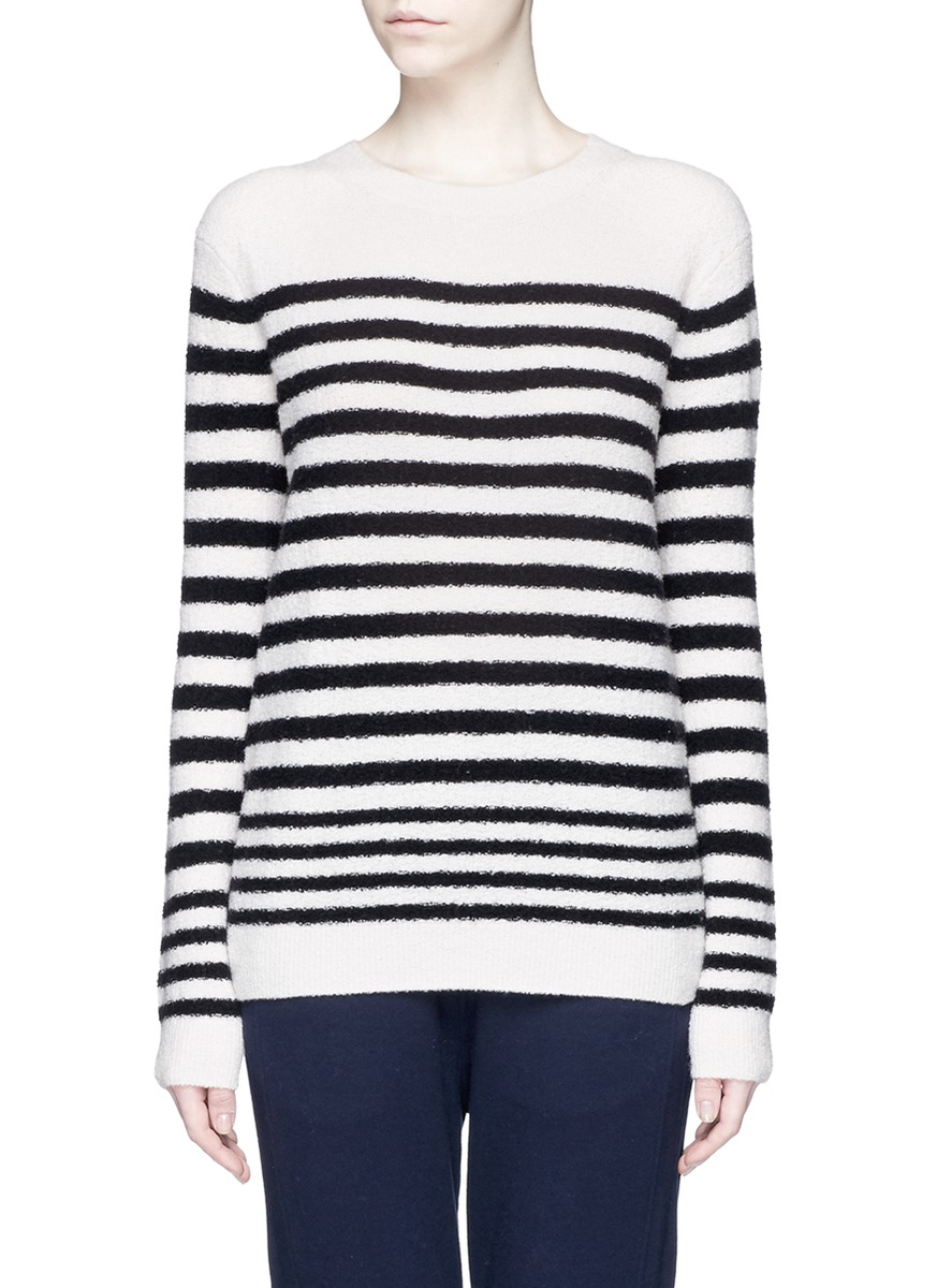 Stripe wool blend bouclé knit sweater by Vince