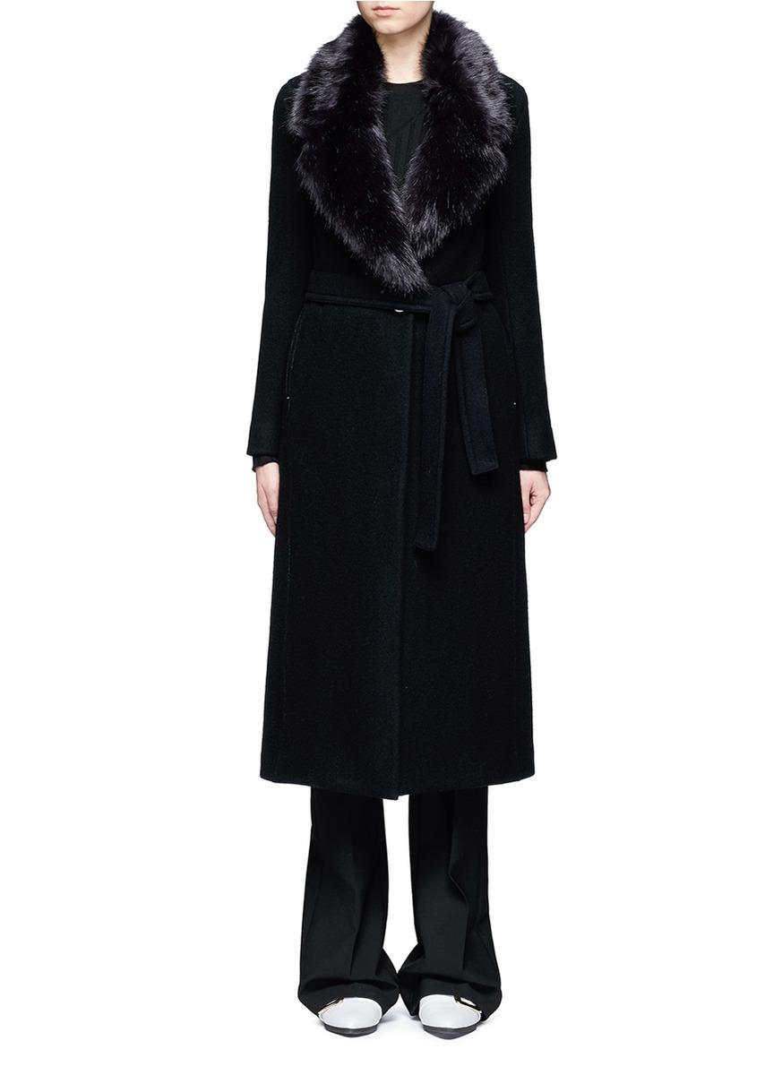 Detachable faux fur collar wool coat by Helmut Lang