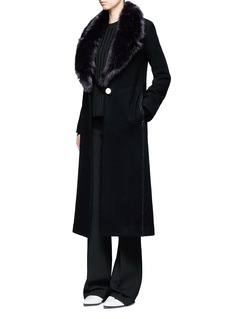 Helmut Lang Detachable faux fur collar wool coat