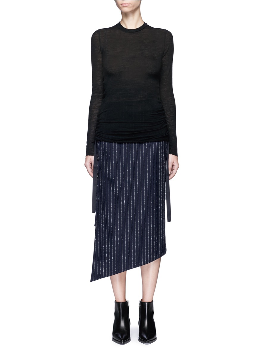 Ribbon ruched wool jersey top by Helmut Lang