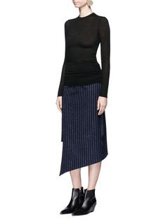 Helmut LangRibbon ruched wool jersey top