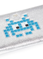 'Space Invaders' embossed metallic leather continental wallet