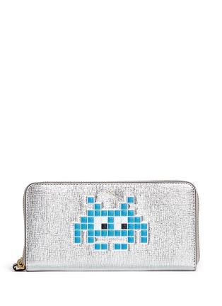 Main View - Click To Enlarge - Anya Hindmarch - 'Space Invaders' embossed metallic leather continental wallet