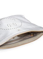 'Smiley Georgiana' perforated metallic leather clutch