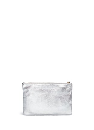 Back View - Click To Enlarge - Anya Hindmarch - 'Smiley Georgiana' perforated metallic leather clutch