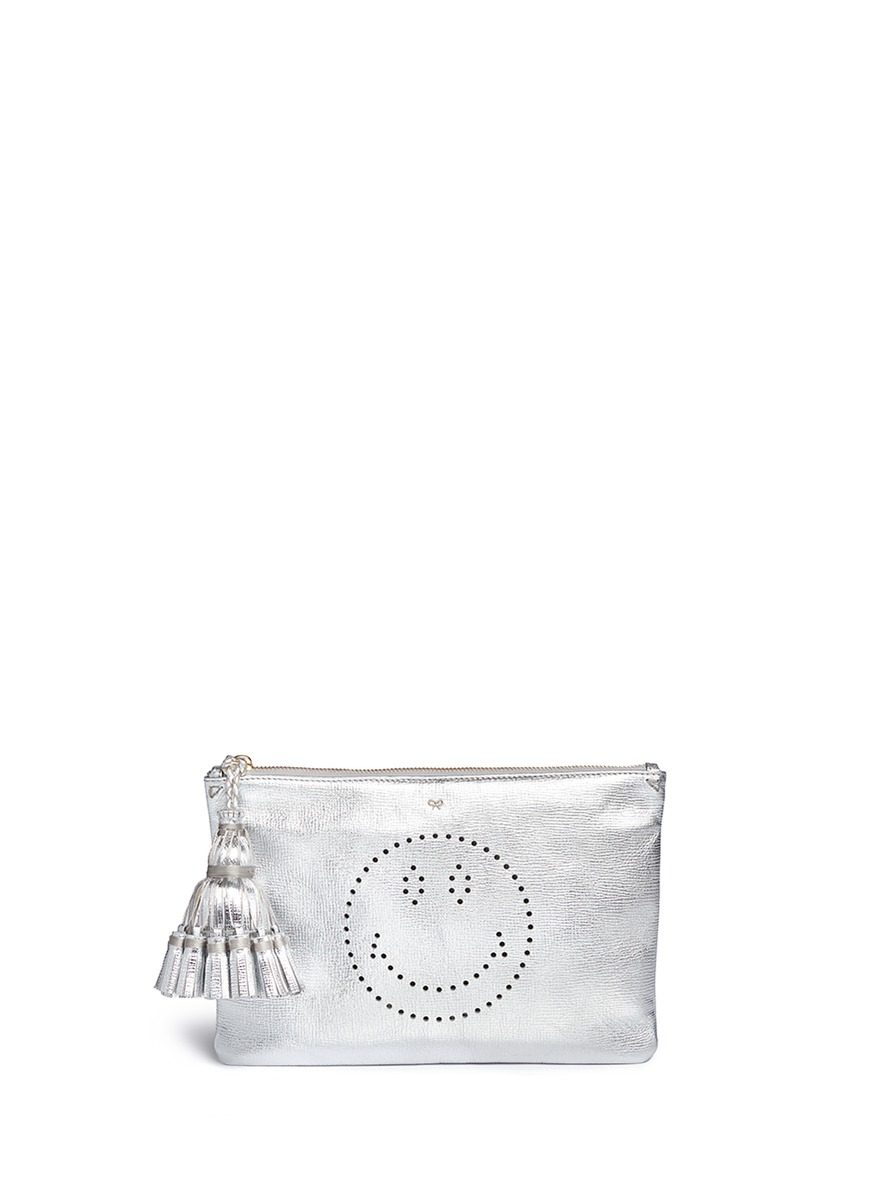 Smiley Georgiana perforated metallic leather clutch by Anya Hindmarch