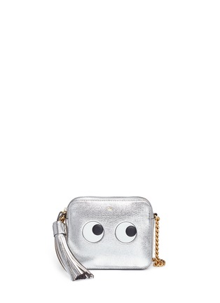 Main View - Click To Enlarge - Anya Hindmarch - 'Eyes' embossed metallic leather crossbody bag