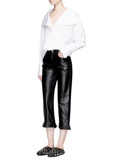 Jinnnn Pleated cuff snake effect lambskin leather pants