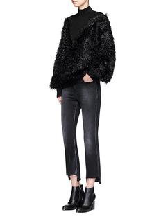 Jinnnn Metallic film fibre mohair blend glitter wool sweater