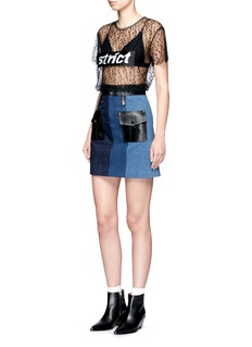 Jinnnn Snake effect leather patchwork denim skirt