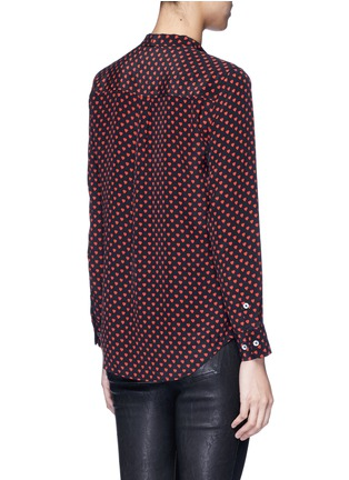 Back View - Click To Enlarge - Equipment - x Kate Moss 'Collarless Slim Signature' heart print silk shirt