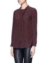 x Kate Moss 'Collarless Slim Signature' heart print silk shirt