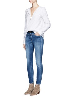 rag & bone/JEAN Folded drape front cotton-silk blouse