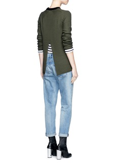 rag & bone/JEAN 'Carly' contrast crew neck split back sweater