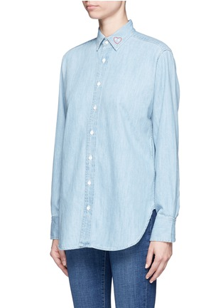 Front View - Click To Enlarge - rag & bone/JEAN - Heart embroidered cotton chambray boyfriend shirt