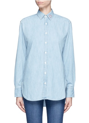 Main View - Click To Enlarge - rag & bone/JEAN - Heart embroidered cotton chambray boyfriend shirt