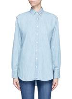 Heart embroidered cotton chambray boyfriend shirt