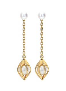 Mellerio 'Bourgeons de Lys' akoya pearl 18k yellow gold earrings