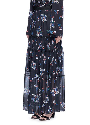 Front View - Click To Enlarge - Nicholas - 'Posie' floral print tiered silk maxi skirt