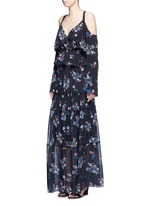 'Posie' floral print tiered silk maxi skirt