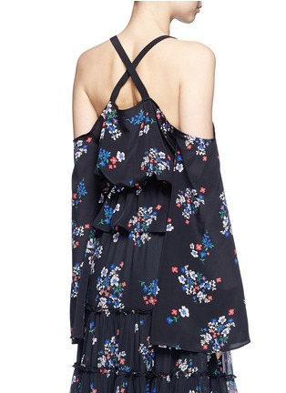 Back View - Click To Enlarge - Nicholas - 'Posie' floral cold shoulder cropped silk top