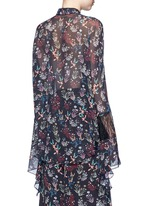 Garden floral print batwing silk shirt