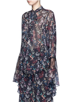 Front View - Click To Enlarge - Nicholas - Garden floral print batwing silk shirt