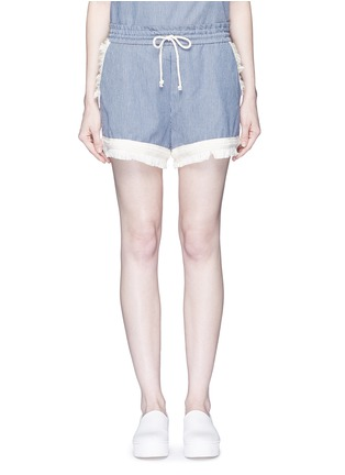 Main View - Click To Enlarge - Nicholas - Frayed trim pinstripe drawstring shorts