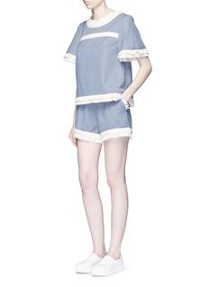 NICHOLASFrayed trim pinstripe drawstring shorts