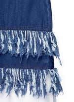 Frayed fringe cotton denim tunic