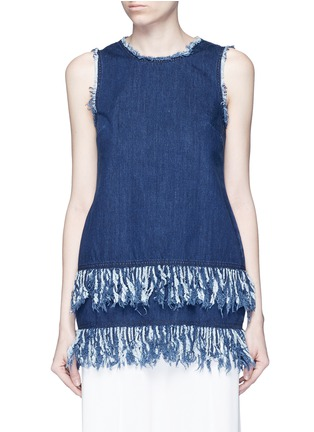 Main View - Click To Enlarge - Nicholas - Frayed fringe cotton denim tunic