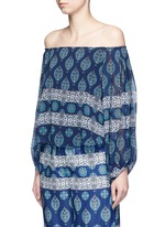 Temple print off-shoulder chiffon top