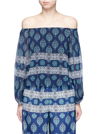 Main View - Click To Enlarge - Nicholas - Temple print off-shoulder chiffon top