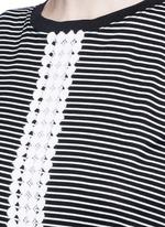 Dot guipure lace stripe drop waist dress