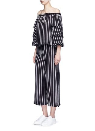 Figure View - Click To Enlarge - Nicholas - Stripe tiered sleeve off-shoulder top
