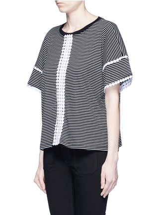 Front View - Click To Enlarge - Nicholas - Dot guipure lace stripe T-shirt