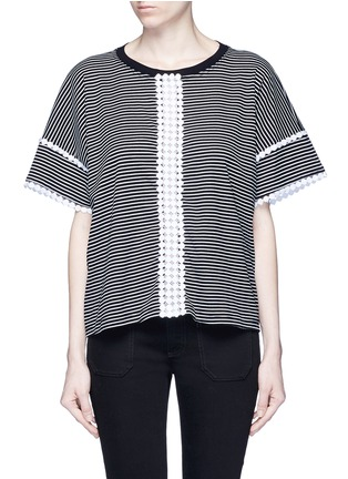 Main View - Click To Enlarge - Nicholas - Dot guipure lace stripe T-shirt