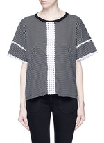 Dot guipure lace stripe T-shirt