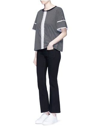 Figure View - Click To Enlarge - Nicholas - Dot guipure lace stripe T-shirt
