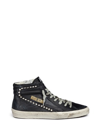 Main View - Click To Enlarge - Golden Goose - 'Slide' stud smudged leather high top sneakers