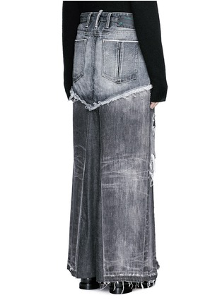 Back View - Click To Enlarge - Tortoise - Distressed patchwork denim maxi skirt