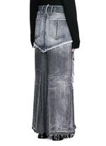 Distressed patchwork denim maxi skirt