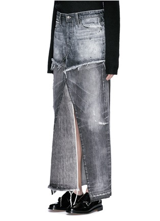 Front View - Click To Enlarge - Tortoise - Distressed patchwork denim maxi skirt